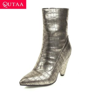 QUTAA 2020 Zipper PU Leather Sewing Autumn Winter Ankle Boots Sexy Pointed Toe Spike High Heel Fashion Women Shoes Big Size34-43