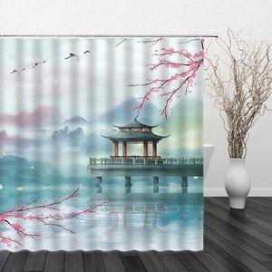 Chinesische Art Dusche Vorhänge Landschaft Pfingstrose Blumen Bird Landschaft Wasserdichte Badezimmer Dekor Home Badewanne Polyester Vorhang Set