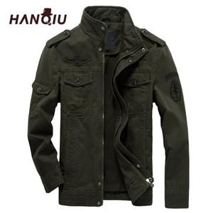 HANQIU Marka M-6XL Bombacı Ceket Erkekler Askeri Giyim Bahar Sonbahar Erkek Ceket Katı Gevşek Ordu Askeri Ceket 201123