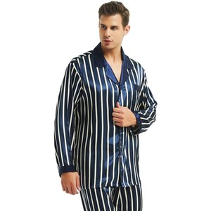 Mens Silk Satin Pajamas Set Pajama Pyjamas PJS Set Sleepwear Loungewear S,M,L,XL,,, Plus LJ201112