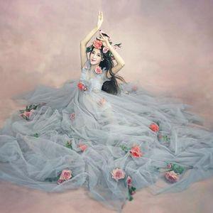 Mujeres embarazadas Flower Flower Maternity Photography Props Romántico Elegante Largo Fairy Dressing Dressing Photo Shoot Ducha Vestido