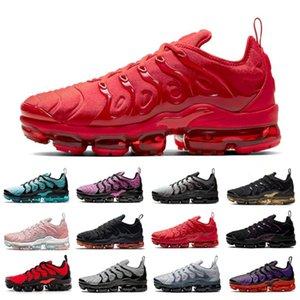새로운 무지개 니트 TN Plus Mens 러닝 신발 하이퍼 바이올렛 포도 표백 된 아쿠아 남성 여성 트레이너 스포츠 스 니 커 즈 Chaussures Zapatos 36-47
