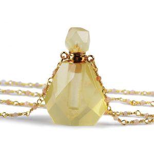 "Perfume Bottle Multi-kind Natural Stone Essential Oil Bottles White Quartz Amazonite Amethysts 26"" Women Nec wmtXqW dh_garden"