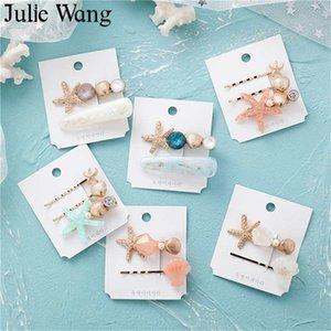 Julie Wang Shell Starfish Play Clips Set para Baby Kids Girls Woman Llegadores de Horquilla Accesorios para el cabello Joyería