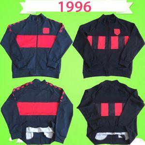 Atletico Madrid Barcelona jacket jersey 1996 레트로 트랙 슈트 축구 유니폼 긴 소매 조깅 정장 축구 셔츠 훈련 착용 성인 빈티지 자켓 레드 진한 파란색 스페인