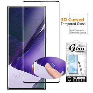 Para Samsung Nota 20 Ultra Screen Protector 9h dureza borda curva Bubble Case Friendly Fingerprint Touch Vidro temperado Galaxy S20 S10