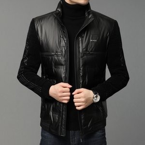 Winter White Duck Down Jacket Men Long Sleeve Stand-Up Collar PU Leather Down Coats Black Classic Male Windproof Warm Outerwear Y1120