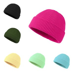 knitted hat Beanie Caps knitted cashmere thick warm couple lovers parent-child hats tide street hip-hop wool cap Adult Children