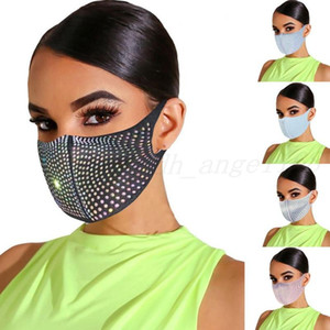 US Stock Bling Bling Rhinestone Designer Face Women Masks Protective Dustproof Washable Reuseable Facemask Fashion Party Mouth Mask