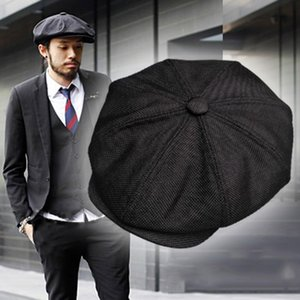 Casquette Four Seasons Cotton And Linen Black Men's Newsboy Hat Male Beret Men And Women Retro England Visor Big Head Cap BLM20 201130
