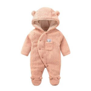 3Color Winter fleece baby romper newborn rompers keep warm Infant jumpsuit baby clothes one piece clothing newborn clothes B2896