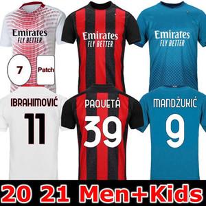 20 21 AC Milan Jersey 2020 2021 Ibrahimovic Piatek Football Shirt Mandzukic Paquetta Pennacer Hommes Enfants Rebic Camisa de Futebol 120ème