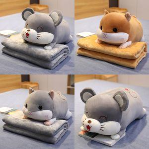2in1 Cute Hamester Peluche Peluche Peluche Penoglia con Blank Bed Doll Doll Pig Mouse Lavabile Super Soft Pillow Regalo di alta qualità per Kid Y1209