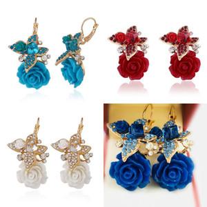 فراشة الأقراط استرخى الزهور النمط العرقي الراتنج روز ريترو مجوهرات مزاجه أزياء السيدات الأذن المعلقات الملحقات 2 8cra k2