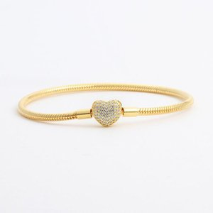 18K Yellow Gold plated CZ Diamond Heart Bracelets Original Box Set for Pandora 925 Silver Snake Chain Bracelet for Women Wedding Jewelry