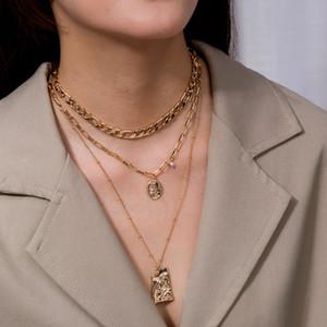 Мода Multi Lake Lock Портрет Подвески Ожерелья для Женщин Золотой Металлический Ключ Сердце Ожерелье Новый Дизайн Украшения Подарок