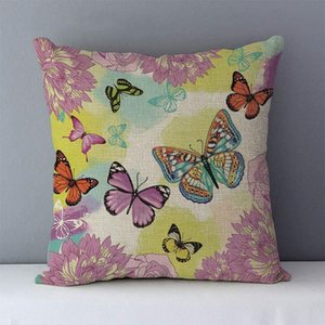 Children room decorative cushion cover colorful flower butterfly printed cotton linen cushions for home 45x45cm chair bed pillow