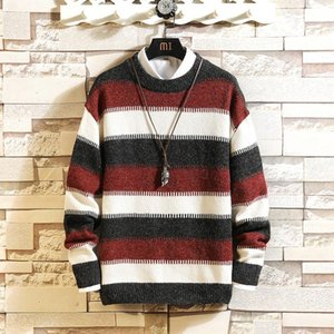 2020 Autumn Brand Men's KnitwearSweaters Men O Neck Casual Warm Striped Knitted Sweater Male Loose Jersey Pullover M-5XL