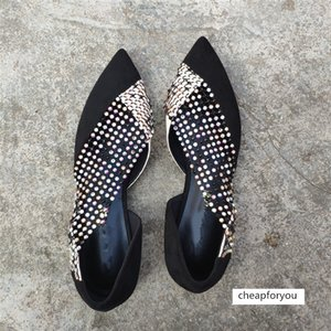 Rhinestone Hollow Flat Sexy Reticular Splicing Woman Shallow Mouth Single Pointed Toe Ladies Shoes