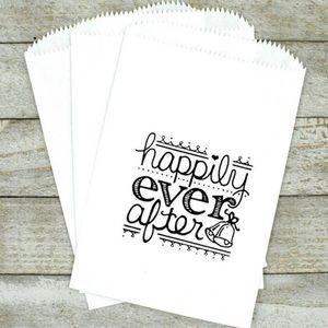 Bolsas personalizadas de favor de Kraft - bolsas de invitación para bodas, ducha o fiesta - felizmente después, bolsa de pastel de boda, compromiso, 1