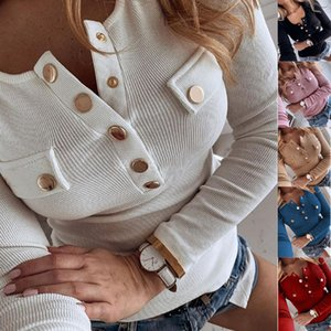 2020 hot! autumn new girl fashion Single row button V-neck Big breasts Long sleeve T-shirt Shirt coat