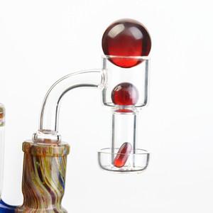 Terp Slurpers Quartz Banger со стеклянным мраморным / рубиновым жемчугом 2 мм настенные вакуумные кварцевые ногти для стеклянных бонков