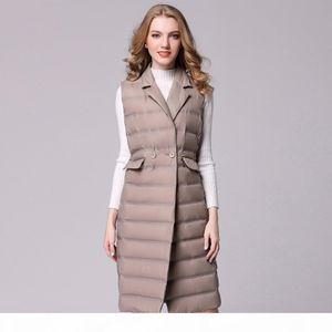 New Long Vest Women White Duck Down Vest Ultra Light Down Jacket Winter Sleeveless Slim Waistcoat