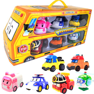 6pcs set Original Box Robocar Poli Korea Kids Toys Robot Transformation Anime Action Figure Toys For Children Playmobil Juguetes Q1123