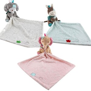 Baby Plush Soothing Toys Security Blanket Baby Toys Towel Cute Deerlet Dog Elephant Animal Doll Comforter Y201001