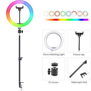 Blitzköpfe Dimmable RGB LED Selfie Ring Licht Einstellbare Tischplatte Einzelner Fußständer Bunte Pografie Beleuchtung Desktop Telefon Shooting1
