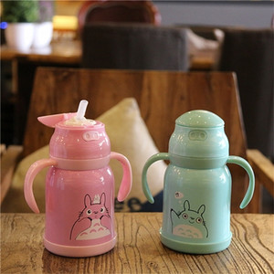 Totoro Child Thermos Mug Cartoon Baby Cup Stainless Steel Insulated Thermo Straw Bottle Kids Handle Vacuum Flask Q1121