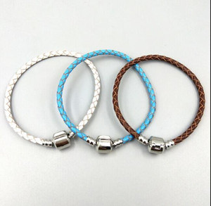 Authentic Silver Clasp Bead Original Stamp Woven Leather Bracelet Fits Pandora Charms Bracelet DIY Fashion Jewelry ps1534