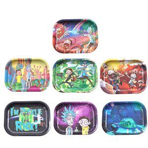 7 Muster-Cartoon-Tabletts Rolling-Tabak-Tablett 18 * 14 cm Metallschale-Tabak-Strower-Rauch-Accessoire-Rauchrohr für Großhandel