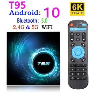 T95 صندوق التلفزيون الذكي الروبوت 10 4K 6K 4G 32GB 64GB 2.4G 5G WIFI Bluetooth 5.0 رباعية النواة مجموعة مربع الوسائط