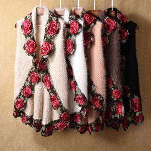 Rose Flower Seahorse Sweater Sleeveless Medium Length Coat 2021 Autumn Winter Knitting Women's Loose Shawl Cardigan Ladies Fashion