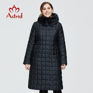 Astrid New Winter Women's coat women long warm parka Plaid Jacket with Rabbit fur hood large sizes female clothing AR-9211 201124