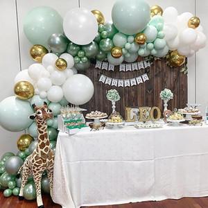 Сторона украшения 108 шт. Латексные воздушные шары джунгли Баллон цепь Macaron зеленая белая гирлянда металла золото день рождения свадебный декор