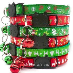 100pcs Christma Safety Release Festives Gifts Cat Kitten Collar Adjustable Buckle Collar Tape Pet Christmas Series Cat Dog Neck Z1127