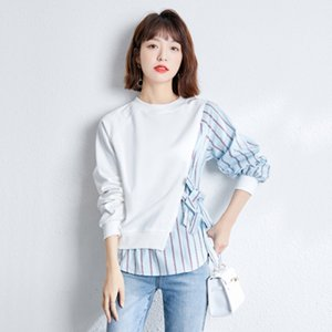 Fashion Trend Girl Sweatshirt Thin Long Sleeve Fake Two Piece Women's Tops 2021 Spring Autumn Casual Pullover Tops