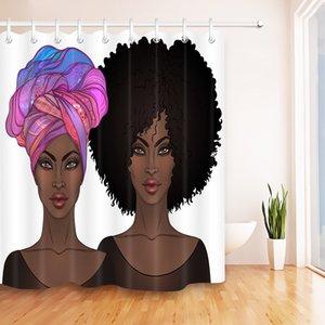 Afro Hair African American Women Duschvorhang Tradition Schwarz Frauen Wasserdicht Badezimmer-Vorhang Polyester-Gewebe Vorhänge