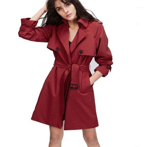 Hot Sale2020 New Arrival Autumn Women Fashion Slim Button Belt Long Trench Coats Female Casual Plus Size Office Outwear Brand1