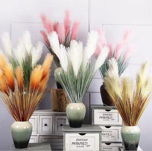 85cm artificial Phragmites australis flower 5 heads Simulation reed home Decorative Flowers plant white pink orange