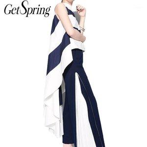Getsring 2020 Yeni Yaz Kadın Kolsuz Şifon Gömlek Standı Çizgili Asimetri Dövüş Renk Bluz NW8301