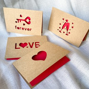 Kraft Paper Love Greeting Card Hollow Love Shaped Wedding Valentine Day Card Thanksgiving Birthday Blessing Cards