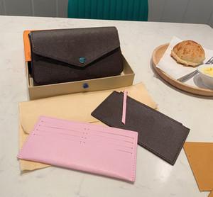 Üç parçalı cüzdan kahverengi mektup çiçek deri moda zincir omuz çantası çanta mini cüzdan kart çantası moda çanta kutusu ile