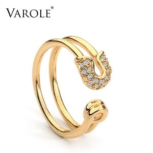VAROLE Unique Paper Clip Gold Color Midi Ring Shining Crystal Fashion Knuckle Rings For Women Jewelry Bagues Anillos mujer