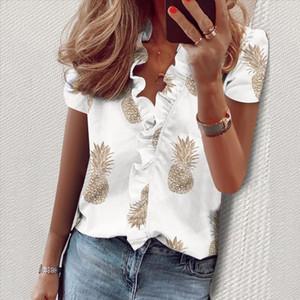 Nibesser New Daisy Pineapple Print Ruffle Blouse Shirts Office Lady 2020 여름 짧은 소매 슬림 블라우스 여성 섹시한 V 넥 탑스