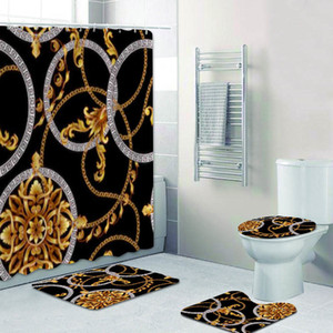 Luxury Black Gold Baroque Shower Curtain Set Modern Golden Damask Long Bathroom Curtains Bath Mats Rugs Accessories Home Decor Z1127