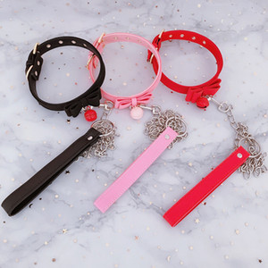 Sexy PU Leather Collar Rivet Alternative metal Bell Choker BDSM Bondage Cute Necklace Sex Toys For Couple Erotic Cosplay Y201118