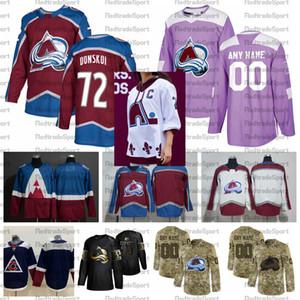 2021 обратная ретро настроить # 72 Joonas Donskoi Colorado Avalanche Hockey Jerseys Golden Edition Camo ветеранов день борется в рубашки рака